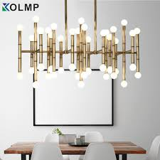 designer home lighting. Modern Rectangular Chandelier Bamboo Droplight Light Bronze Color Designer Home Table Lighting 100-240V Gold