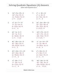 quadratic formula answer math math worksheet page 1 the solving quadratic equations for x with a