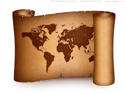Old World Map On Vintage Paper Scroll Psdgraphics