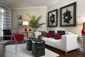 Red White And Black Living Room Living Room Gray Sofa White Shelves Brown Chairs Gray Recliners