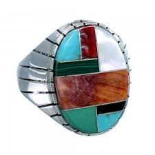 ray jack sterling silver multicolor american indian jewelry ring size 12 1 2 sx108467