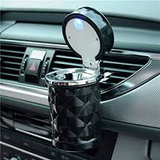 auto car ashtray portable with blue led light lighter ashtray smokeless smoking stand cylinder cup holder