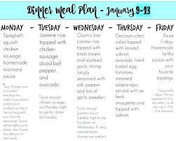 Weekly Dinner Menu Meal Plan 1 7 To Free Printable Template