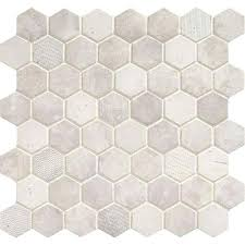 vintage hex 1 a 2 in hexagon mosaic wisdom white tile floor canada