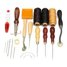 14pcs wood handle leather craft tool kit leather hand sewing tools kit punch cutter diy set cod