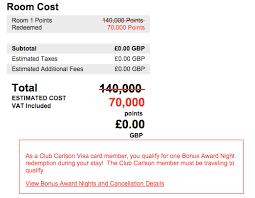 Club Carlson Redeem Chart Club Carlson Visa Second Free Night Benefit Still Bookable