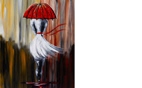 girl in the rain umbrella art beginner acrylic painting lesson you