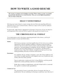 Sample Of A Good Resume Resume For Study