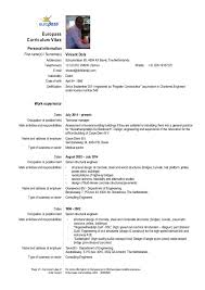 Europass Resume Format Cv Vpm Dols Europass Template Englisch 1 2016