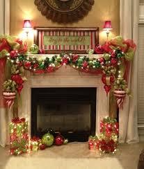 christmas decorations around fireplace
