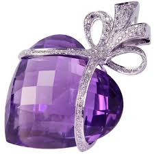 large amethyst heart diamond gold bow pendant necklace for