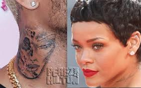Chris Browns Neck Tattooo Is Not Rihanna Rep Says It Commemorates