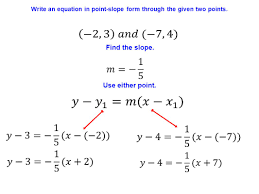 57 write an equation in point slope form through the given two points