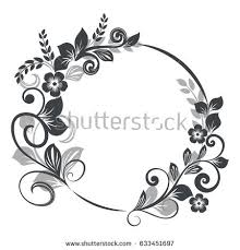 vintage black frame. Vintage Black And White Round Floral Frame Vector Illustration.