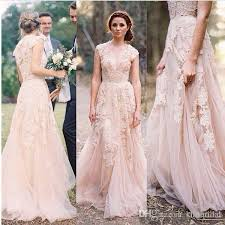 dresses for garden wedding. discount vintage 2016 blush lace beach garden wedding dresses sexy vestido de noiva deep v neck cap sleeve layered reem acra long bridal gowns for