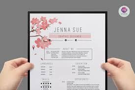 floral resume resume template cv template cover letter template reference letter template cherry floral theme professional cv creative resume