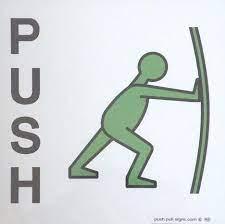 push symbol sign for glass doors