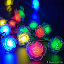 Colored String Lights Solar Powered Colorful Roses Led String Lights With 20 Warm White Leds For Christmas Garden Decoration