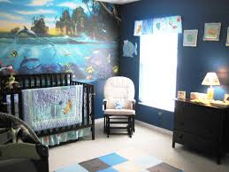 Under the Sea Ocean Themed Nursery with wall sized coral reef decal. Mural  purchased with