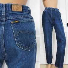 Vintage Lee Jeans S M Womens 28 Inch Waist Riders Straight Tapered Leg 80s Black Tag Blue Denim High Waist