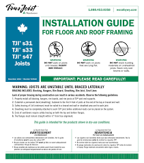 Tji Span Chart Installation Guide For Floor And Roof Framing With