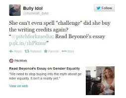 gender equality is a myth beyonc atilde copy s essay you won t beyonce twitter reactions 2014 022