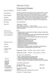 Procurement Buyer Resume Sample Procurement Manager Template Job