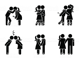 Stick Figure Kissing Couple Set Man And Woman In Love Vector