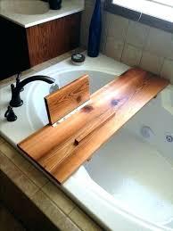 teak bathtub caddy taymor water resistant tray wood