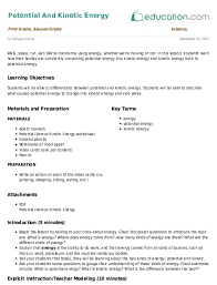 Potential And Kinetic Energy Lesson Plan Educationcom Lesson