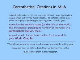 Ppt Parenthetical Citations Using The Mla Format Powerpoint