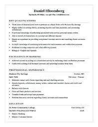 Sample Resume For Bank Resume Creator Simple Source Custom Resume For Bank Teller
