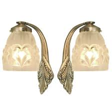pair of french art deco wall sconces with early degue shades deco wall french art and art deco