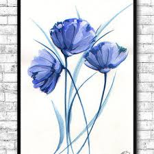 watercolor painting watercolor flower painting blue flowers modern art print wall art poster kitchen wall decor on flower wall art prints with watercolor painting watercolor flower from artsprint on etsy