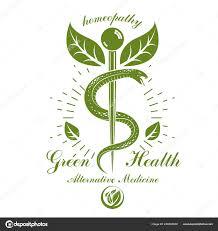 кадуцей вектор концептуальной эмблема змей зеленые листья