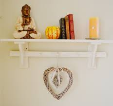 SHABBY CHIC FRENCH STYLE COUNTRY WALL SHELF UNIT WITH HANGING Country Style Shelves