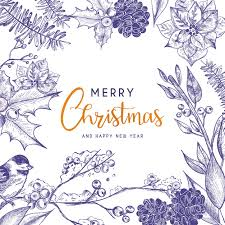 free beautiful christmas cards beautiful christmas card with vintage flowers vector free download