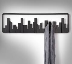 The skyline coat hook is a modern looking wall-mounted multi coat hook that  resembles a night time city skyline. The skyline coat hook has 5 hooks (or  ...