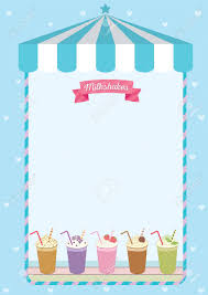Cute Template Milkshakes Menu Template Decorated On Blue Cute Cafe Background