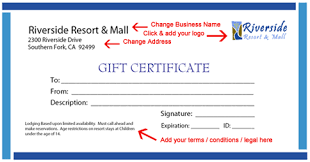 Printable Gift Certificate Template Instructions Gift