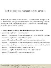 Content Manager Resume Under Fontanacountryinn Com