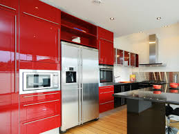 Kitchen With Red Appliances Cabinet Kitchen Cabinet Color Design