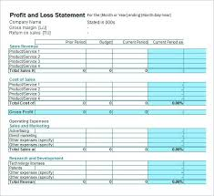 P And L Statement Template Stunning Profit And Loss Statement Template For Mac Google Docs Jesoturs