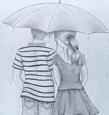 with umbrella couple pencil sketch