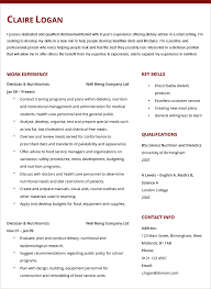 Dietician Nutritionist Cv Example Hashtag Resume