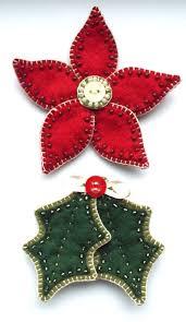 Poinsettia and Holly Felt Christmas Ornament