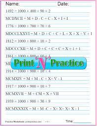 Roman Numerals Printable Chart Roman Numerals Chart Roman Numeral Conversion Worksheets