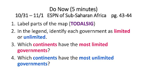 Limited And Unlimited Government Venn Diagram Do Now 5 Minutes 10 31 11 1 Espn Of Sub Saharan Africa