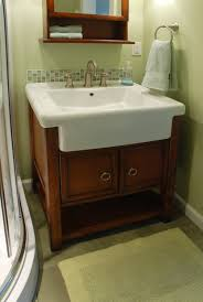 furniture terrific farmhouse sink bathroom vanities using semi recessed rectangular basin with brushed chrome faucet on