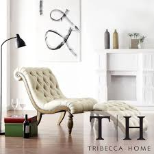 Living Room Chaise Lounge Furniture Relaxing White Tufted Chaise Lounge With Small Round